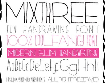 Font Download Handwritten MixThree Skinny and Wide Font Condensed