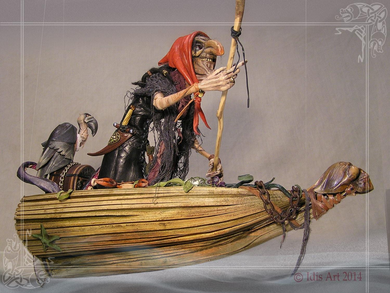Sea hag in a boat witch sculpture diorama ooak art doll sedia hag
