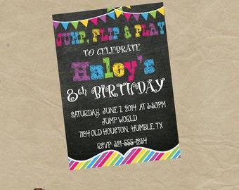 Jump Flip and Play Moonwalk Birthday Party Invitation -Digital or Printed