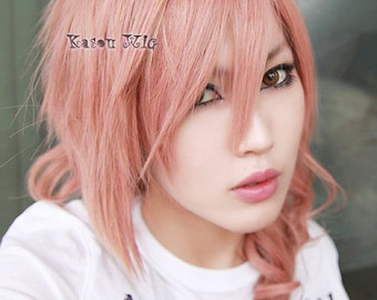 Final Fantasy  XIII / FF13 Lightning 50cm long curly Pink Yellow blended long cosplay Wig