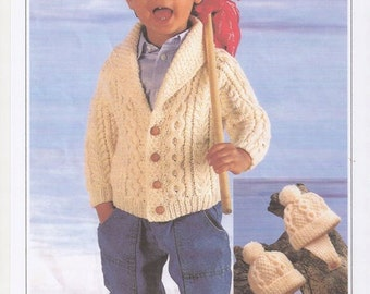 Baby Boys Aran Cardigan, Traditional Boys Cardigan, Toddler Cardigan, Aran Wool Pattern, Childrens Aran Wool Pattern, Knitting Pattern only