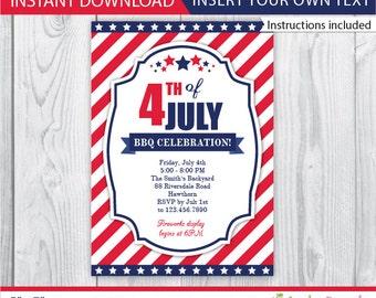 4th of july invitation / 4th july invitations / 4th of july invite / 4th of july bbq invitation / bbq 4th july invitation / INSTANT DOWNLOAD
