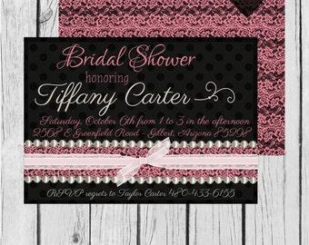Bridal Shower, Pink, Lace, Polka Dots, Pearls - Wedding Invitation, Bridal Shower, Baby Shower, Birthday - Digital and Printable Invitation