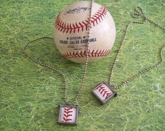 Baseball Necklace- Glass Back- Classic- Square 3/4 inch