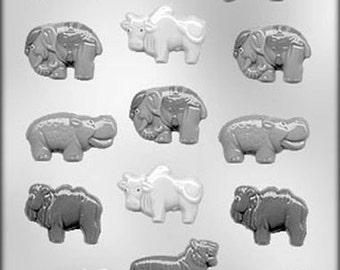 Wild Animal Assortment Chocolate Candy Mold Tiger Hippo Elephant