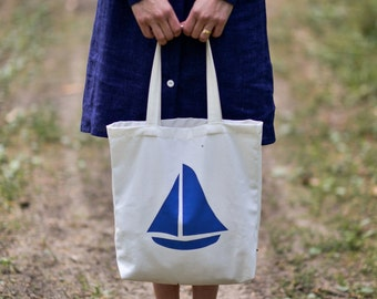 FREE SHIPPING Natural Cotton Tote Bag. Women handbag. Marinistic style with Yacht.