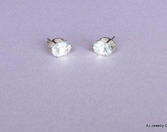 Aquamarine Sterling Silver Earrings - Gemstone Earrings           (GS-207)