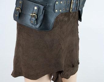 Leather steampunk pocket belt (festival and travel) - Jujak (0022)
