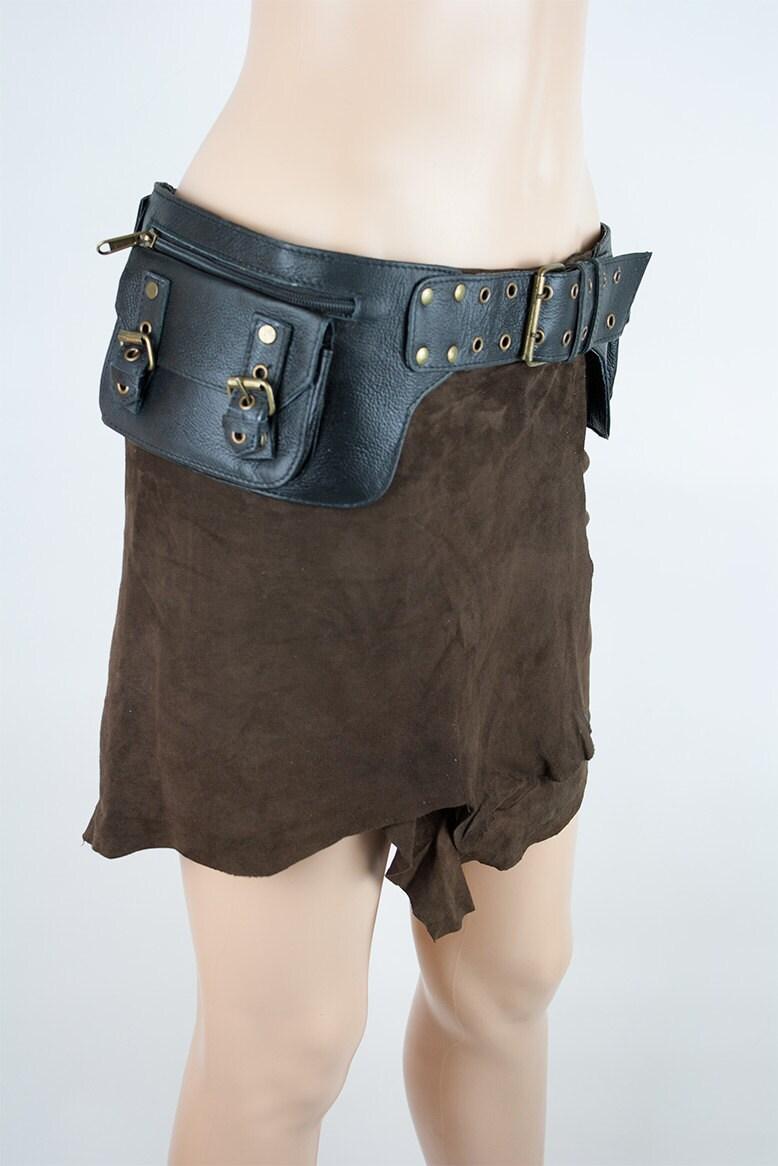 leather steunk pocket belt festival and travel jujak