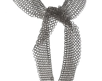 Lariat necklace, silver chainmaille statement necklace, long wrap necklace, scarf chain necklace