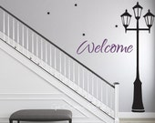 Street Light Decal Street Lamp Welcome Decal Lamp Post Wall Decal City Decor Welcome Text Decal Stars Entry Way Decal Foyer