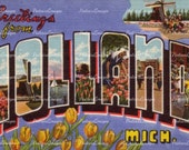 Large Letter Greetings From Holland Michigan MI Postcard Digital Image Download