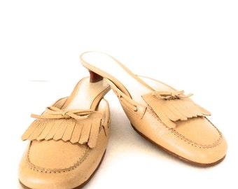 Vintage Tan Leather Loafer Style Heels Slides Etienne Aigner Size 7.5