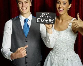 BEST WEDDING EVER - Printed Chalk Board 18.5cm  013-203