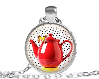 Pokka Dot Red Teapot Necklace, Vintage 1950's Style Necklace, Monarch Butterfly & Tea Necklace, Tea Lovers, Sweetheart Red Jewelry necklace