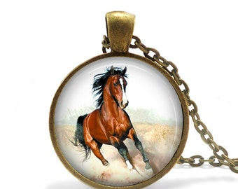 Bronze Mustang Horse Necklace, Horse Jewelry, Mustang Necklace, Horse Necklace, Brown Horse, Horse Rider, Horse Keepsake Gift Necklace