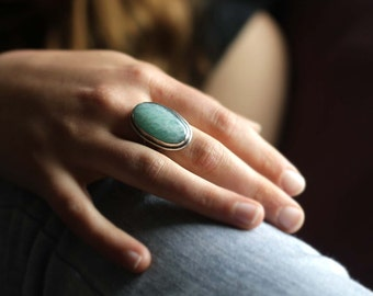 Handcrafted Amazonite and Sterling Silver Ring. Size 8-1/2