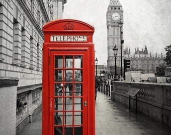 London Print, Big Ben Print, London Photography, Red Phone Box, Black and White, London Photo, London Decor, London Wall Art