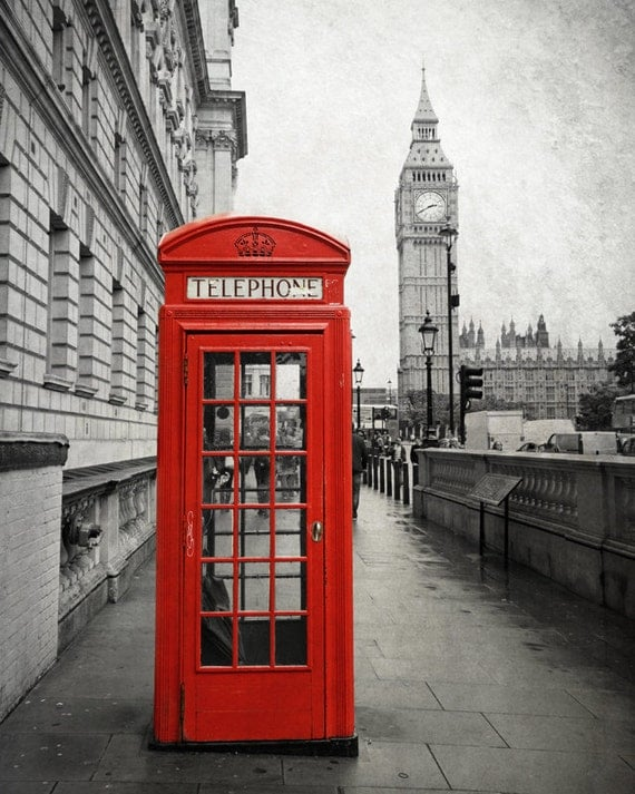 bo te de t l phone rouge imprim big ben print photographie. Black Bedroom Furniture Sets. Home Design Ideas