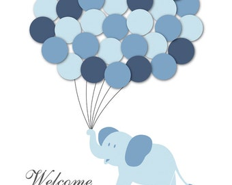 Baby Shower Guestbook Alternative Elephant Children Kids Birthday Balloons Poster Print Guest Sign Personalized Unique DIGITAL FILE ONLY!