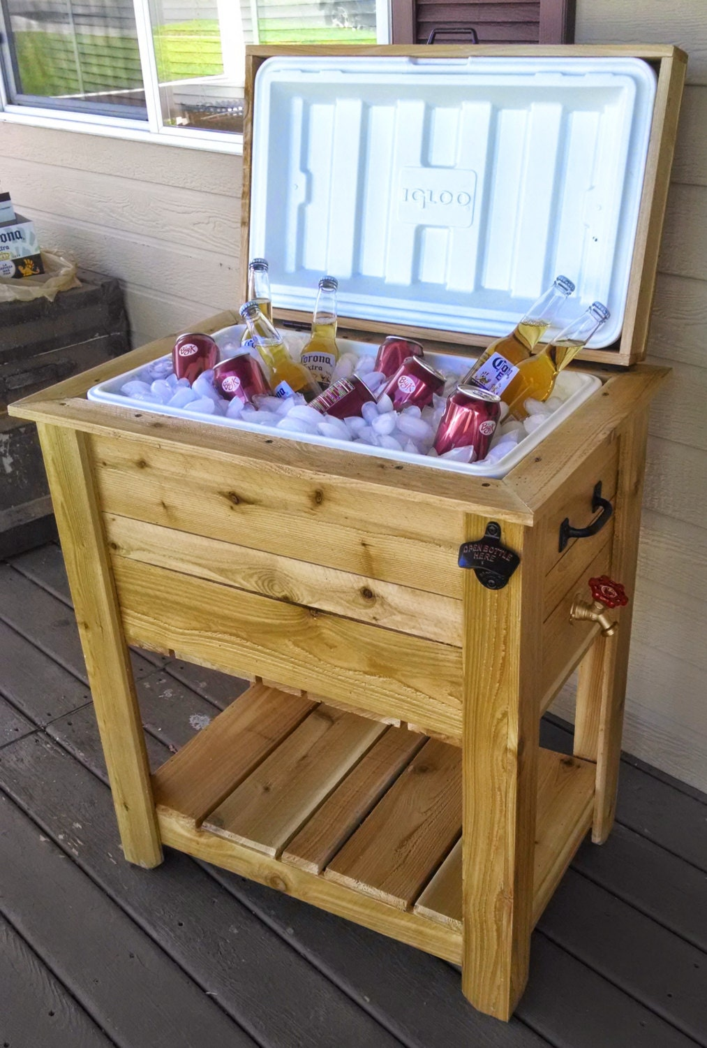 Wooden Ice Chest ~ Ice chest cooler box western red cedar weatherproof