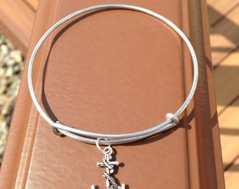 Ships Anchor Charm Bracelet Bangle