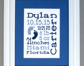 Freeform with Footprint Accent - Custom Embroidered Birth Announcement Keepsake