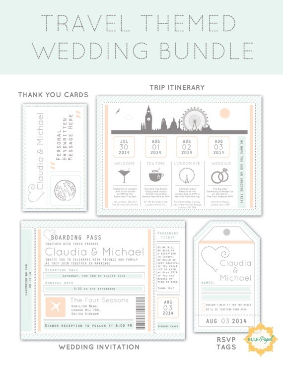 Items Similar To Destination Wedding Invitation Package Printable Destination Wedding