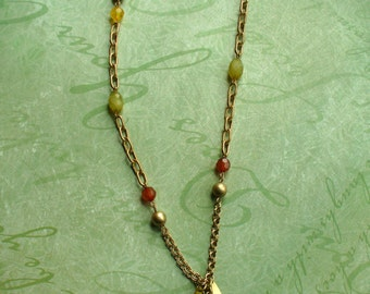 Enamled Gold Leaf Beaded Chain Necklace, Gold Crystal Accent Necklace, Repurposed Necklace, Long Chain Necklace, One of a Kind, MarjorieMae