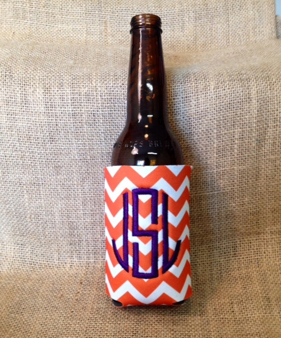 Monogrammed Can Sleeve, Personalized Beer Hugger, Monogrammed Gifts, Beer Gifts, Tailgate Party Favors, Orange Chevron, Orange and Purple