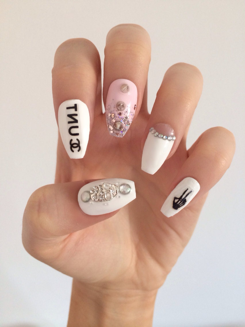 STRAIGHT STILETTO COFFIN SHAPED FALSE NAILS CC CUNT WHITE PINK AND ...