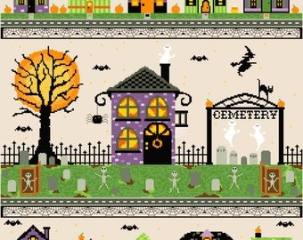 Halloween Village Cross Stitch Pattern 16x20