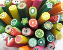Assorted Fruit Polymer Clay Canes, #384