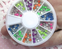 3mm Neon Aluminum Round Cabochons, Multicolor Nail Art Wheel, Over 400 pieces