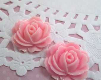 Pink Cabbage Rose Flower Cabochons, 26x22mm Flower Cabs