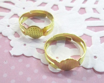 8mm Adjustable Ring Blanks, Gold Plated, 25 pieces A186