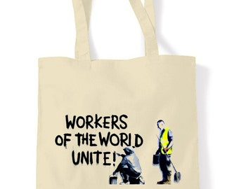 Banksy Workers Of The World Shopping Bag