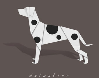 Dalmation art - dog art print of origami design