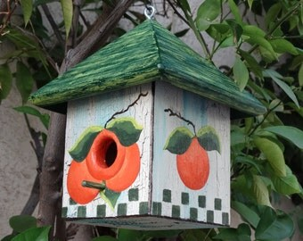 Orange Bird Abode - Painted Handmade Wooden Bird House