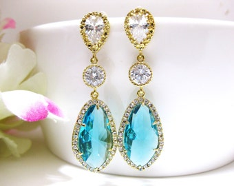 Teal Blue Bridal Teardrop Earrings Cubic Zirconia Teardrop Earrings Bridesmaid Gift Wedding Jewelry Light Blue Crystal Earrings (E029)
