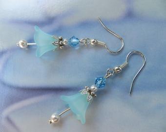 BLUE CRYSTAL EARRING Swarovski Pearl White Silver Filigree Drop Dangle Long Leaf Flower Diamond Lily Hook Bridal Fashion Jewellery Vintage