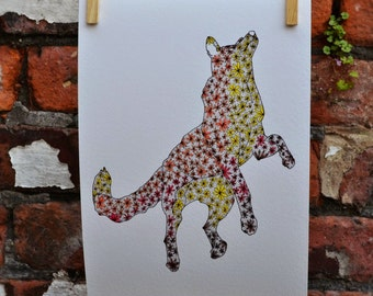 Jumping fox illustration, giclée print, whimsical, floral art print.