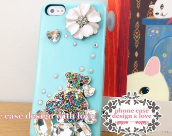 Bling iPhone Case Bling iPhone 5 / 5s Case Cover CUte Bear Studded iPhone 5 / 5s Case Studded with Flower