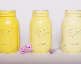 Mason 'Ball' jar Vases- Set of Three hand painted and distressed in shades of Yellow