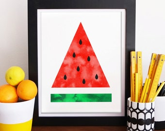 Red & Green Watermelon Watercolour