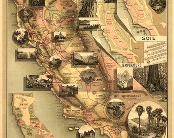 "The Unique Map of California 24x32"" Historic 1888 Archival Reproduction Wall Art Map"