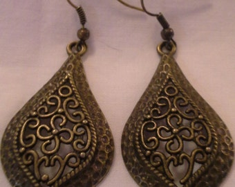 Antique Bronze Moorish Design Earrings = E 164