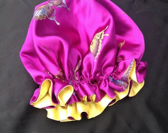 Child size reversible satin brocade sleep cap/bonnet, fully adjustable - PURPLE BUTTERFLIES