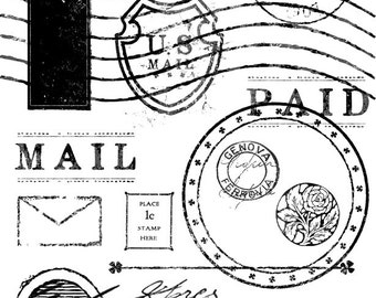 Vintage Mail Stamp Brushes Pack