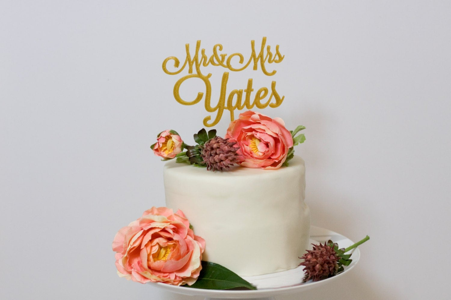 Custom Mr and Mrs Wedding Cake Topper Gold by